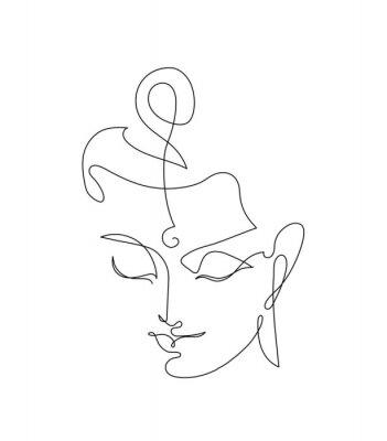 Наклейка Head Smiling Buddha. Linart drawings.