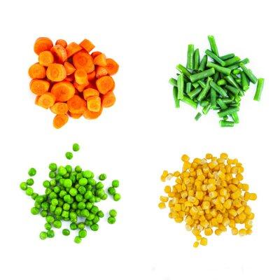 Наклейка Кучи различных овощей вырезать на белом фоне. Вид сверху.
