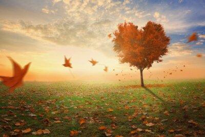Наклейка В форме сердца дерево во время падения