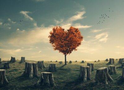 Наклейка В форме сердца дерево в лесу очищенную