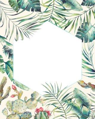 Наклейка Рамка тропических растений Hexagon. Ручная рисованная летняя открытка с кактусом, экзотическими ветвями, листьями банана, пальмой. Шаблон поздравления или логотипа.