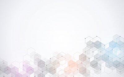 Наклейка Шаблон шестиугольников. Геометрический абстрактный фон с простыми гексагональными элементами. Медицинский, технологический или научный дизайн.