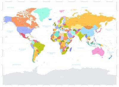 Наклейка Привет подробные цветные иллюстрации Вектор Политическая карта мира