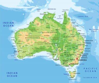 Наклейка Высокая подробные Австралия физическая карта с маркировкой.