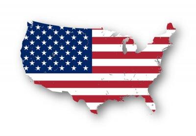 Наклейка Высокое разрешение карта США с американским флагом. Вы можете легко удалить тени или заполнить карте в другом цвете - отсечения путь включены.