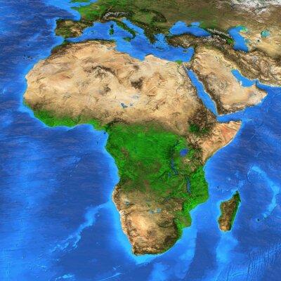 Наклейка Карта мира с высоким разрешением сосредоточена на Африке