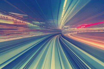 Наклейка Высокая скорость Концепция технологии через монорельс Токио