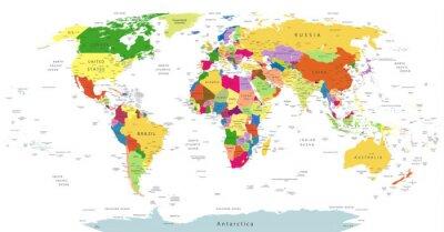 Наклейка Очень подробная политическая карта мира, изолированных на белом