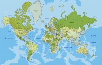 Наклейка Очень подробный Политическая карта мира с маркировкой.