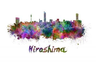 Наклейка Хиросима горизонта в акварели