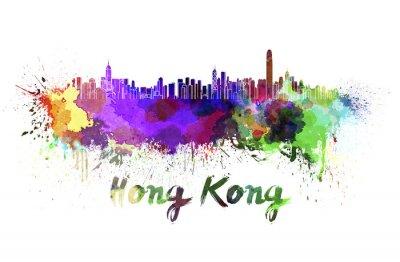 Наклейка Гонконг горизонта акварелью