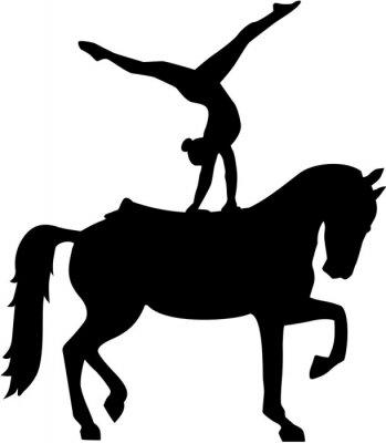 Наклейка Лошадь Vaulting силуэт Voltigieren
