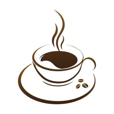 Наклейка вектор чашка горячего кофе
