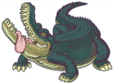 Наклейка Голодные мультфильм Аллигатор с высунутым языком