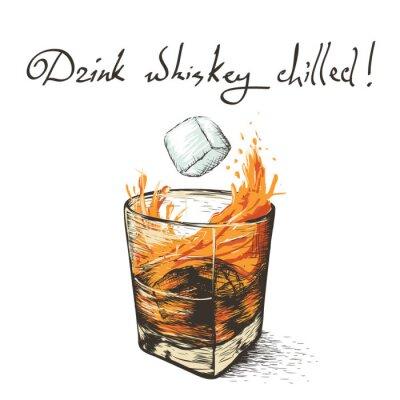 Наклейка лед падает в виски