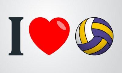 Наклейка Icono плоско я люблю voleibol цвет ан Fondo degradado