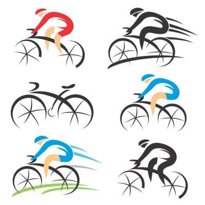 Наклейка Иконы с стилизованный велосипедиста