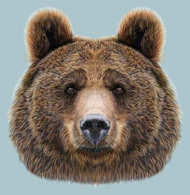 Наклейка Иллюстрированный Портрет медведя на синем фоне