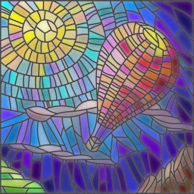 Наклейка Иллюстрация в стиле витражного стекла воздушном шаре на фоне неба и солнца