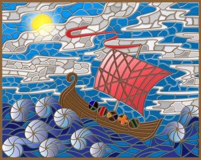 Наклейка Иллюстрация в стиле витражного стекла с антикварной корабля на фоне моря, неба и солнца