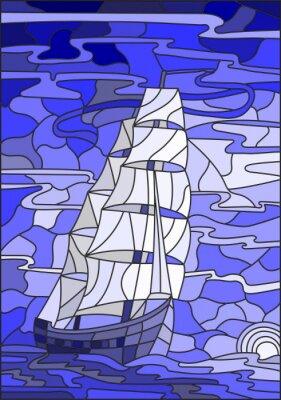 Наклейка Иллюстрация в стиле витражного стекла с парусником на фоне неба, моря и настройки версии sun.Blue