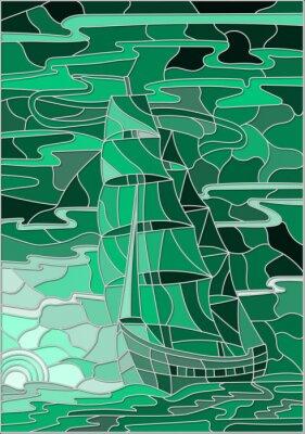 Наклейка Иллюстрация в стиле витражного стекла с парусником на фоне неба, моря и настройки версии sun.Green