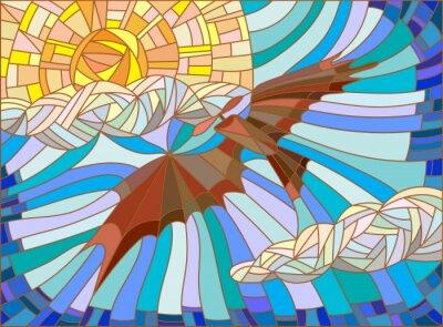 Наклейка Иллюстрация в стиле витражного стекла с винтажной самолета в небе, облака и солнце