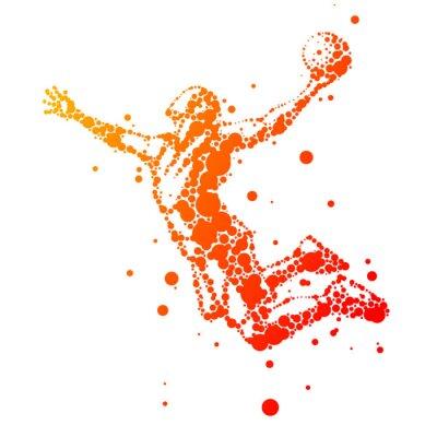Наклейка иллюстрация абстрактной баскетболист в прыжке