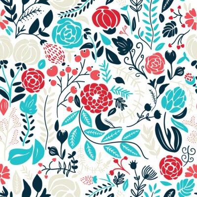 Наклейка Иллюстрация красивых рисованной цветы