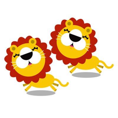 Наклейка Иллюстрация мультфильм мило львов
