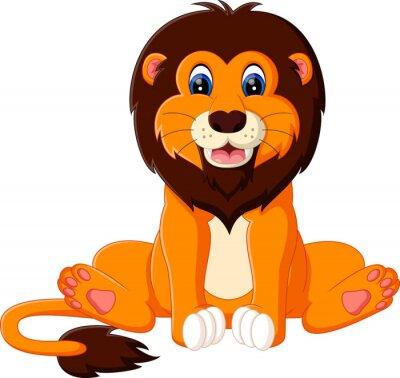Наклейка иллюстрация милый ребенок лев мультфильма