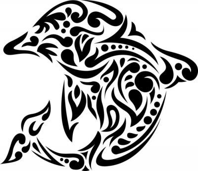 Наклейка иллюстрация дельфина татуировки искусство