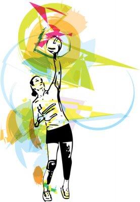 Наклейка Иллюстрация волейболист игры