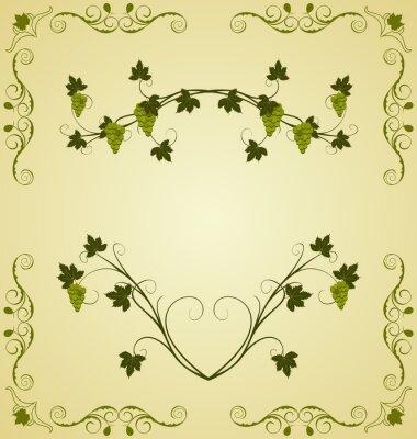 Наклейка Иллюстрация винограда ветку богато