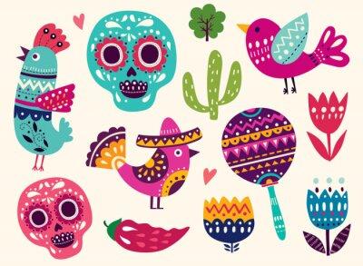 Наклейка Иллюстрация с символами Мексики