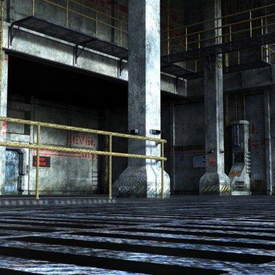 Наклейка промышленный номер технического отдела с железными дверями, колоннами и металлическими элементами