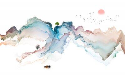 Наклейка Ink landscape decoration illustration abstract line poster background