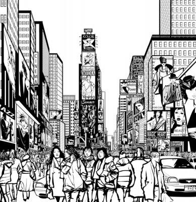 Наклейка Интерпретация Таймс-сквер в Нью-Йорке