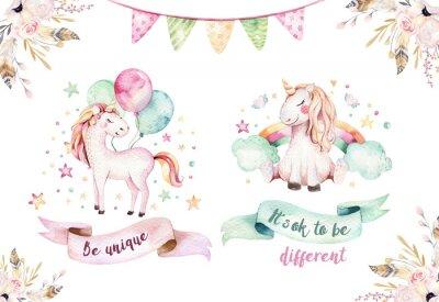 Наклейка Изолированный милый акварельный клипарт единорога. Иллюстрация детского сада. Принцесса Радуга единорог плакат. Модный розовый конь.
