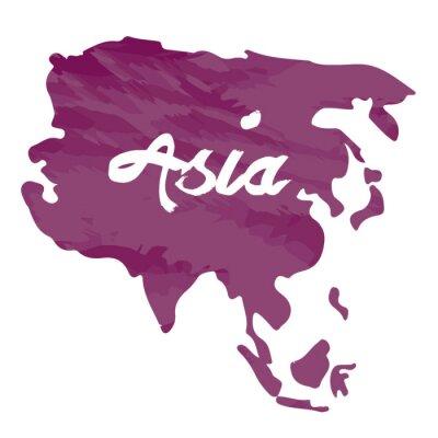 Наклейка Изолированные карта Азии на белом фоне, векторные иллюстрации