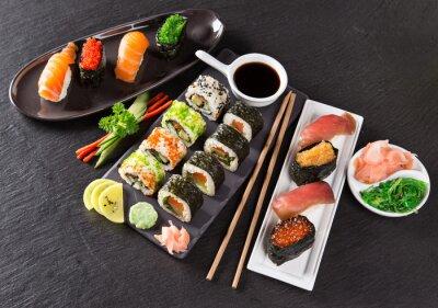 Наклейка Японский набор суши морепродукты