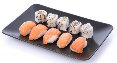 Наклейка Японский набор суши на черной пластины