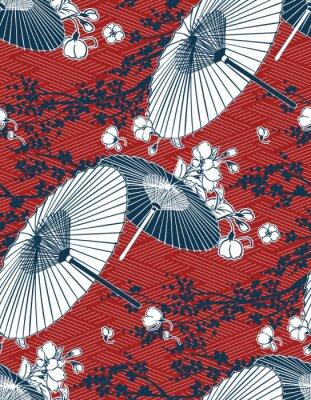 Наклейка japanese traditional vector illustration sakura umbrella pattern red