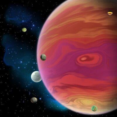 Наклейка Юпитер планета - Юпитер крупнейшая газовая гигантская планета в нашей Солнечной системе с 67 лун и имеет большое красное пятно вихря ниже экватора.