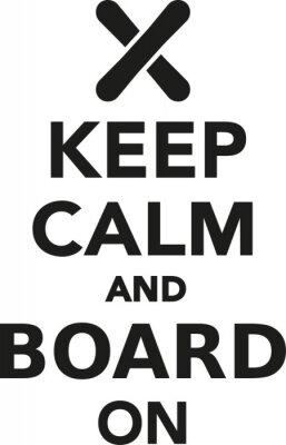 Наклейка Сохраняйте спокойствие и питание на сноуборде