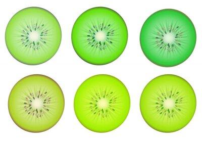 Наклейка Киви ломтики в множественной зеленый оттенок цвета