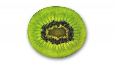 Наклейка Киви ломтик, тропические фрукты разрезать пополам на белом фоне