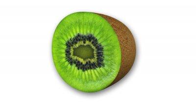 Наклейка Киви нарезанный, фрукты разрезать пополам на белом фоне