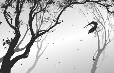 Наклейка пейзаж с летящей совы