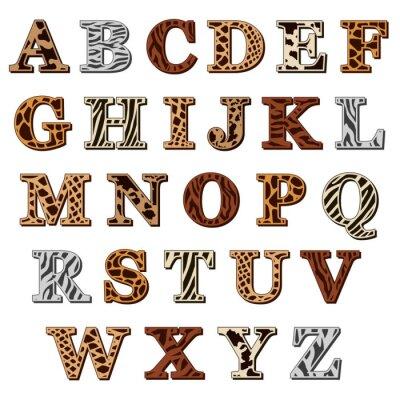Наклейка Латинский алфавит с рисунками животных